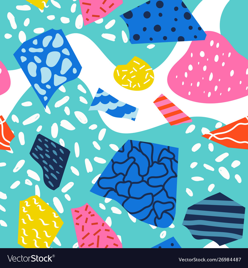 Colorful 80s abstract seamless pattern