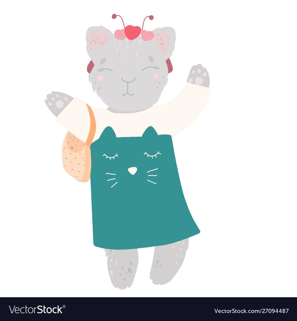 Cute kitty in a dress with a handbag bezel