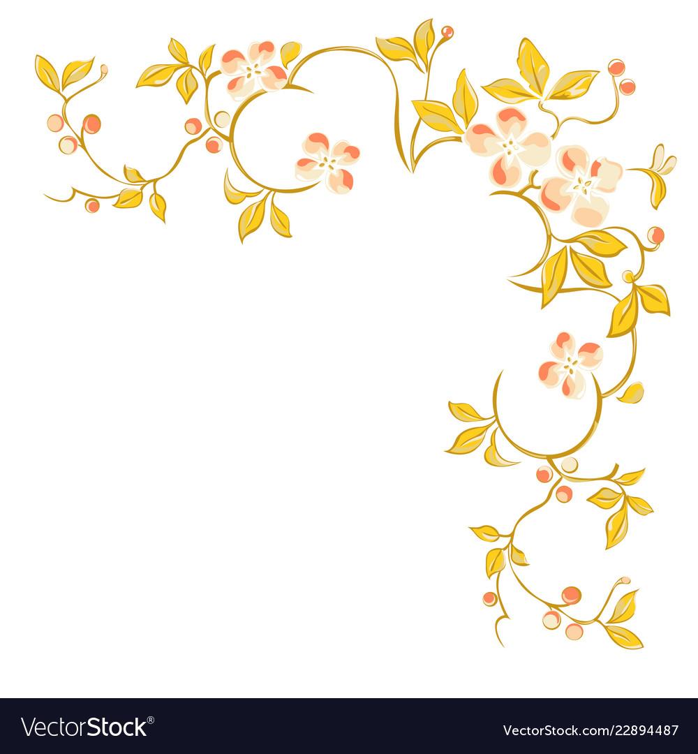 floral decorative corner pattern on white vector image vectorstock
