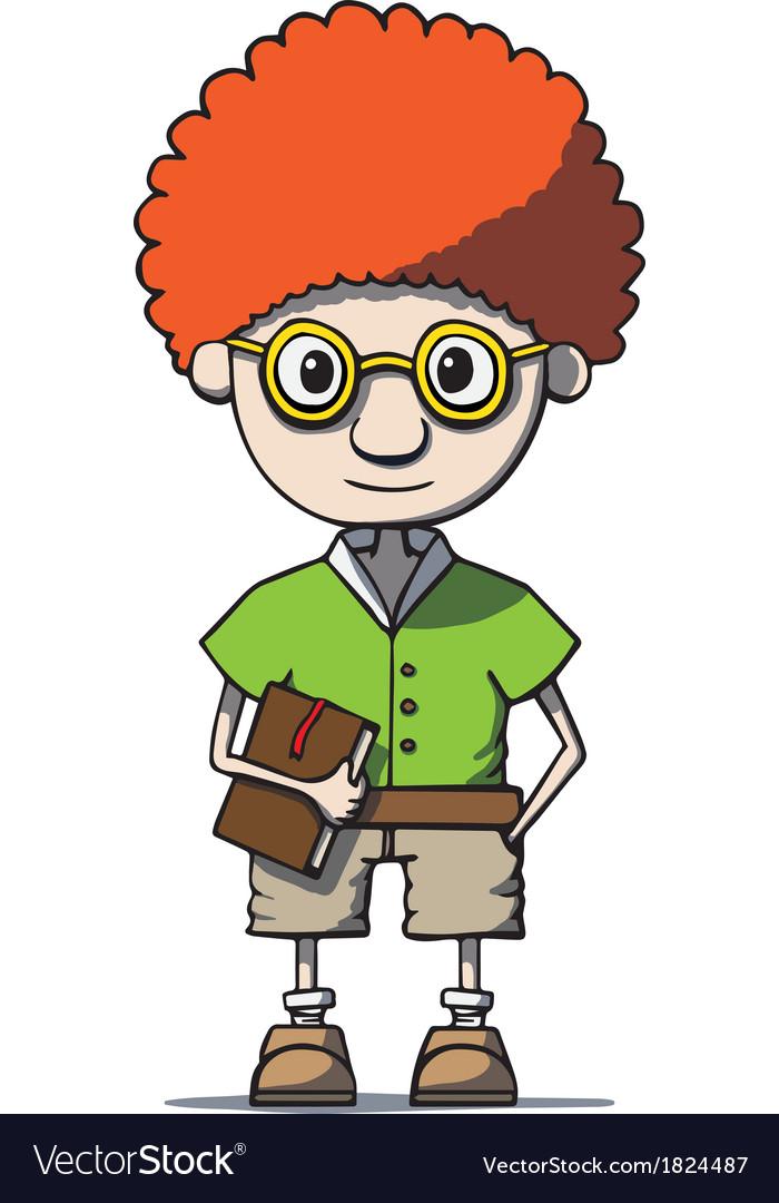 Funny cartoon redhead nerd genius in glasses with