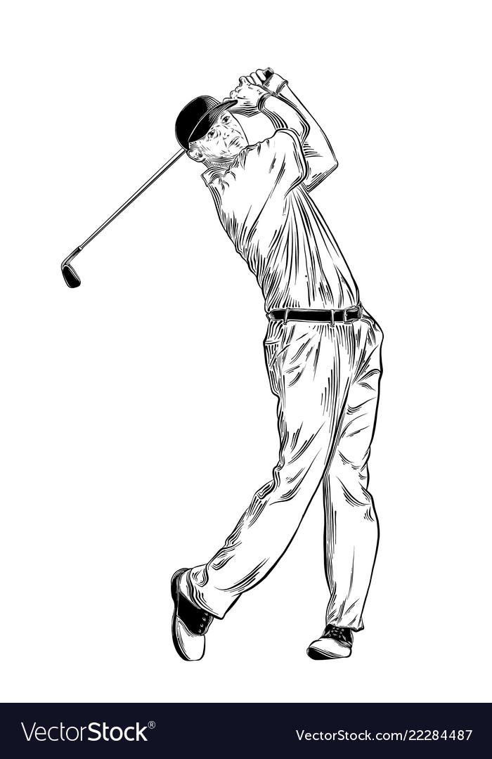 Hand drawn sketch of golfer in black isolated on
