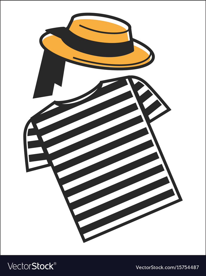Italy or venice gondolier shirt and hat symbols of