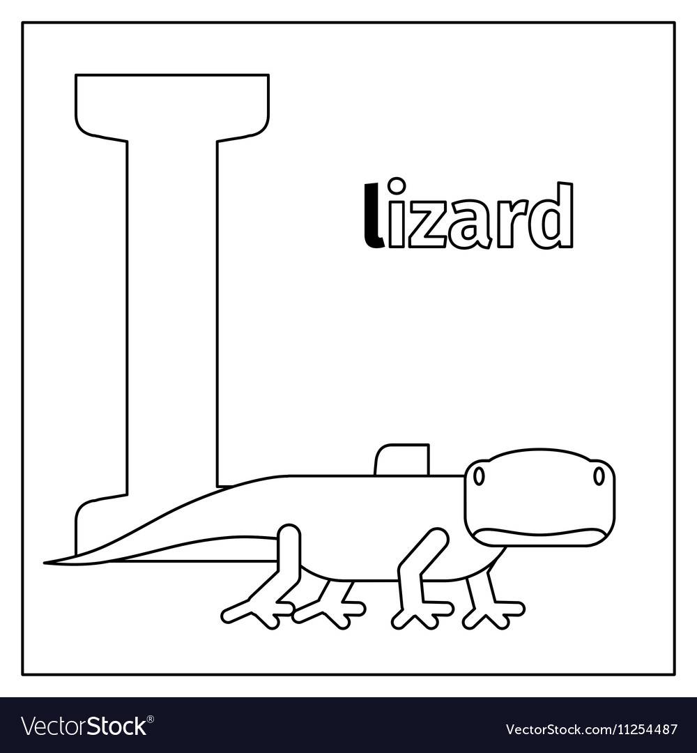 Lizard letter L coloring page Royalty Free Vector Image