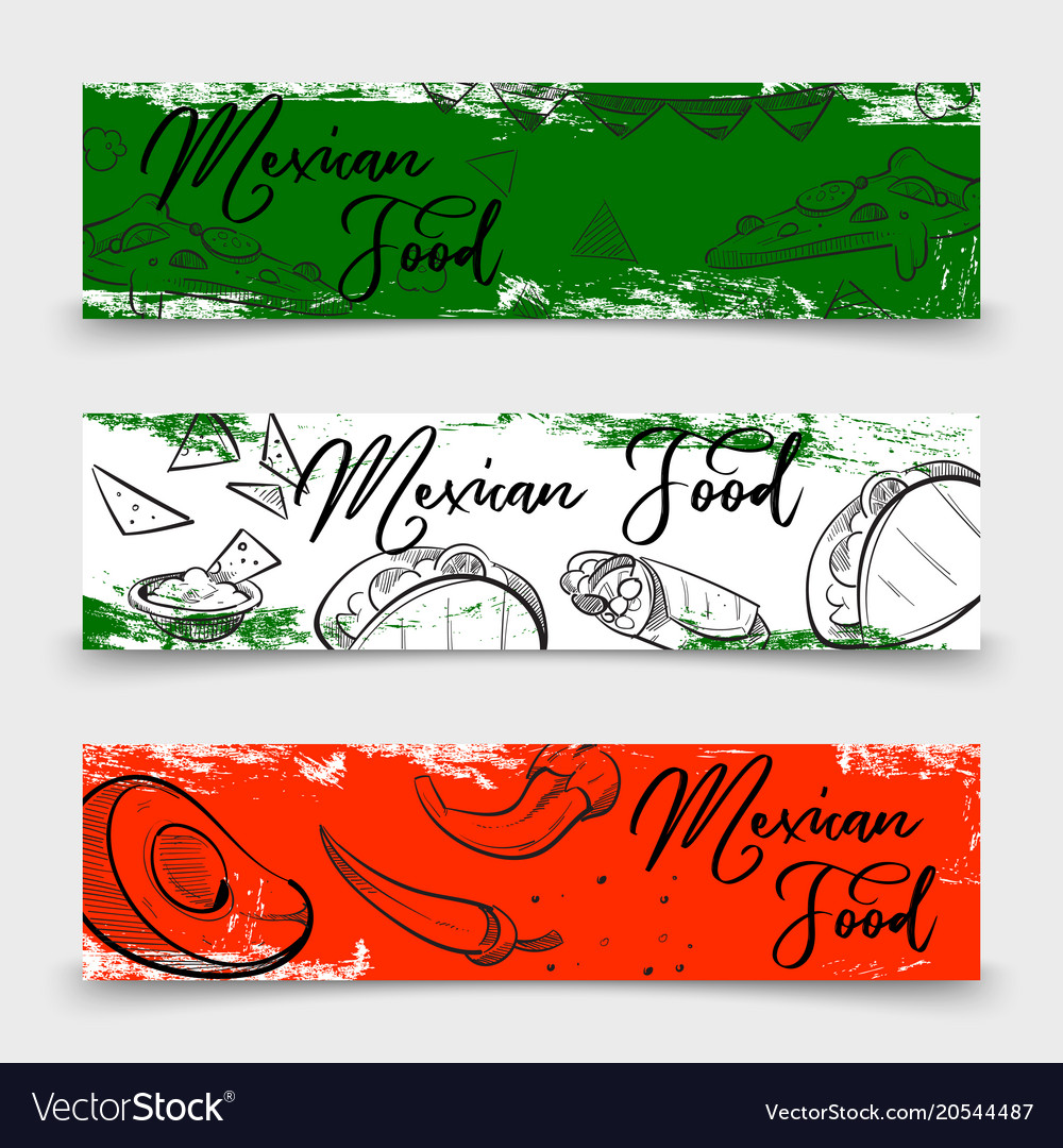 Mexican food banners design with sketch dishes vector image
