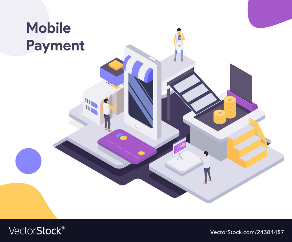Mobile payment isometric modern flat design