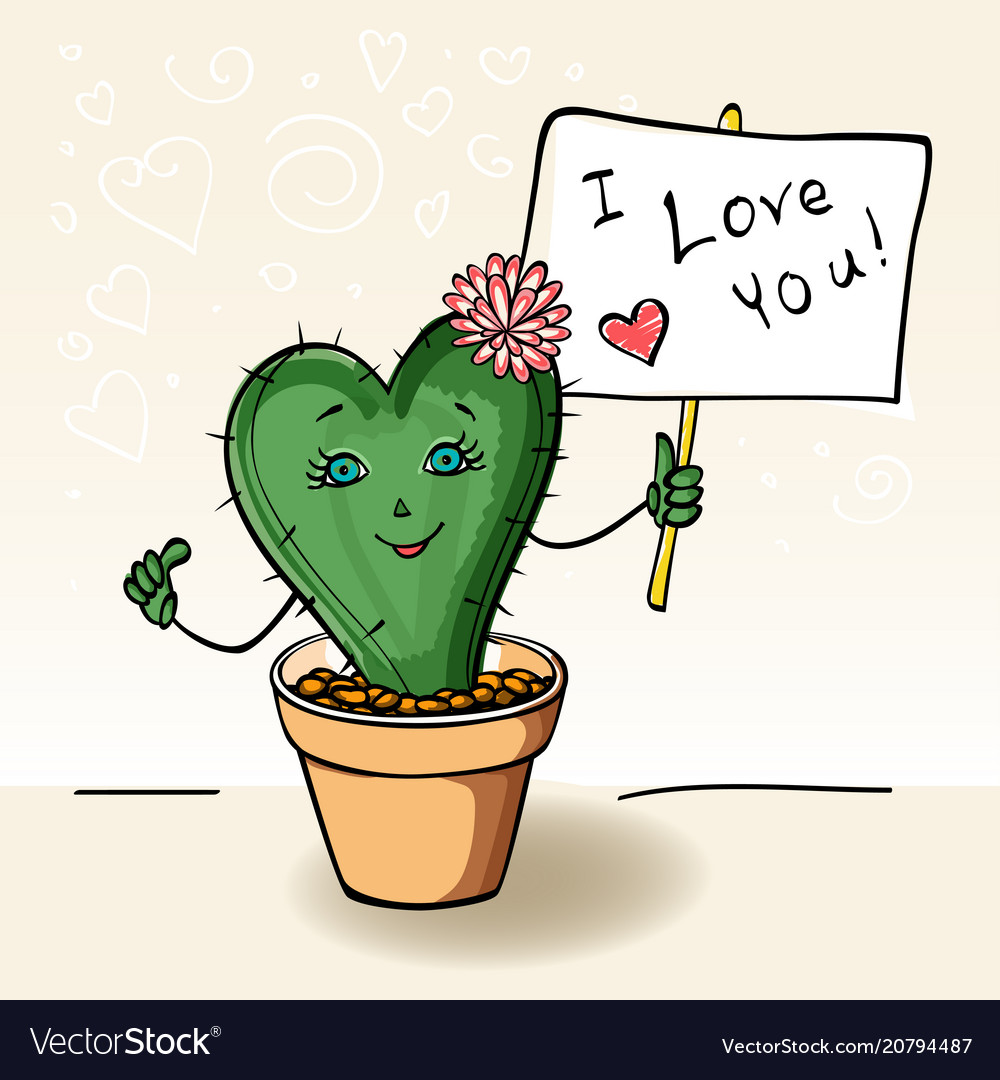Postcard in love with a cactus in a pot