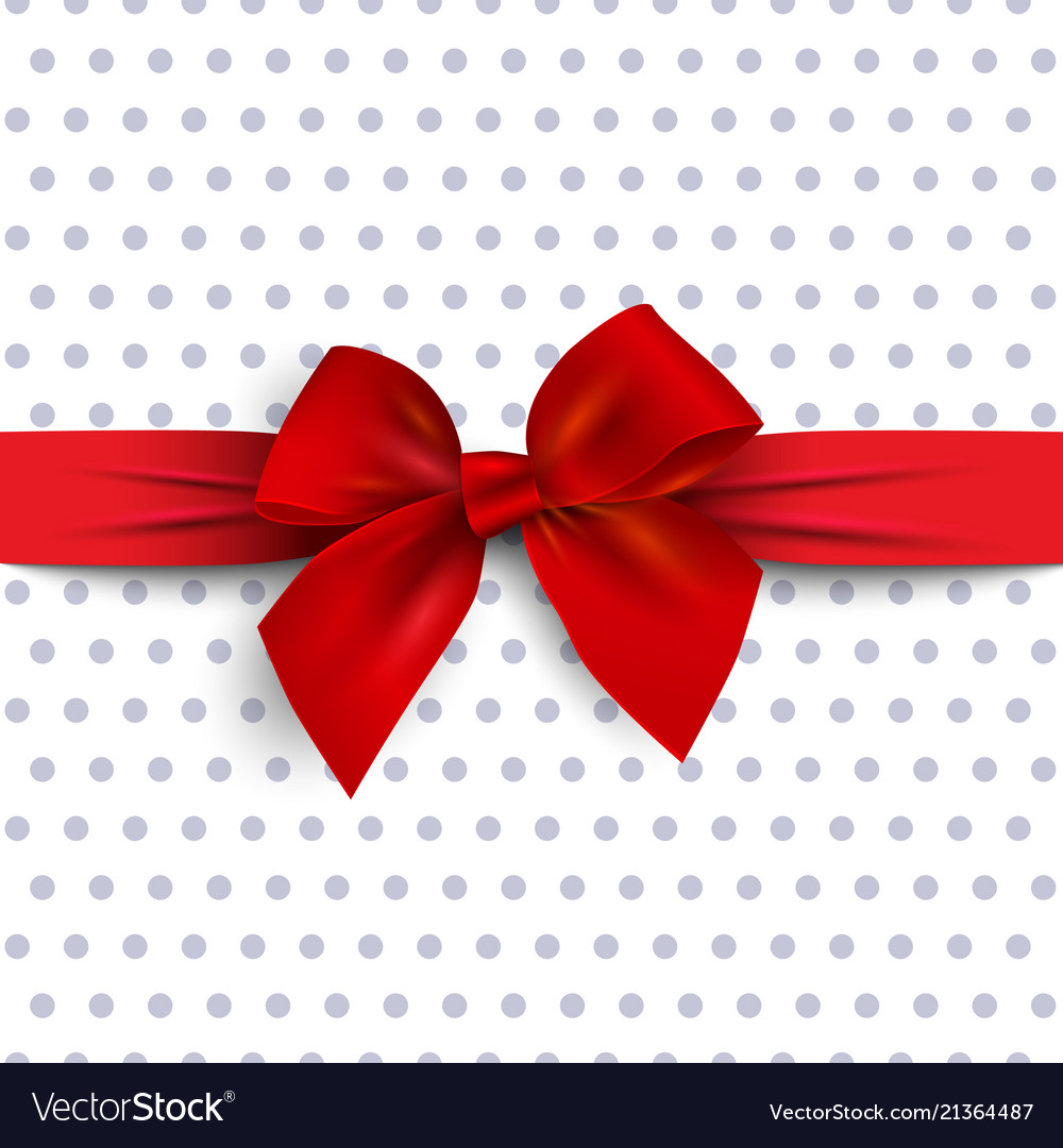 Red gift bow with ribbon on polka dot background