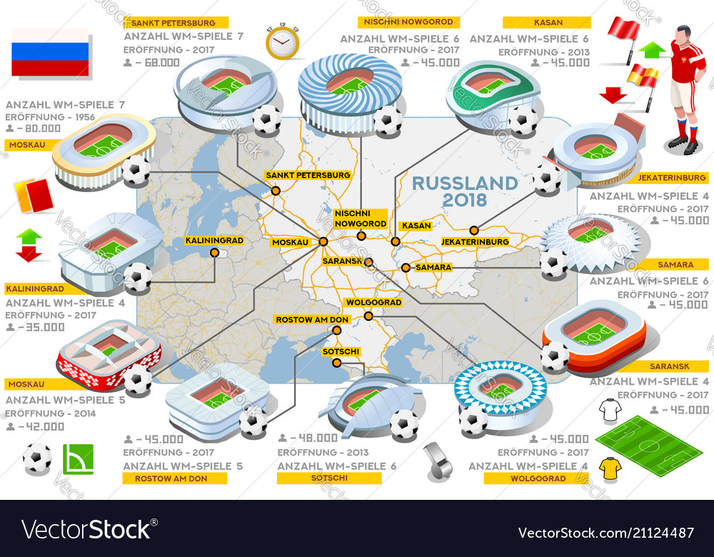 Russia stadiums map german
