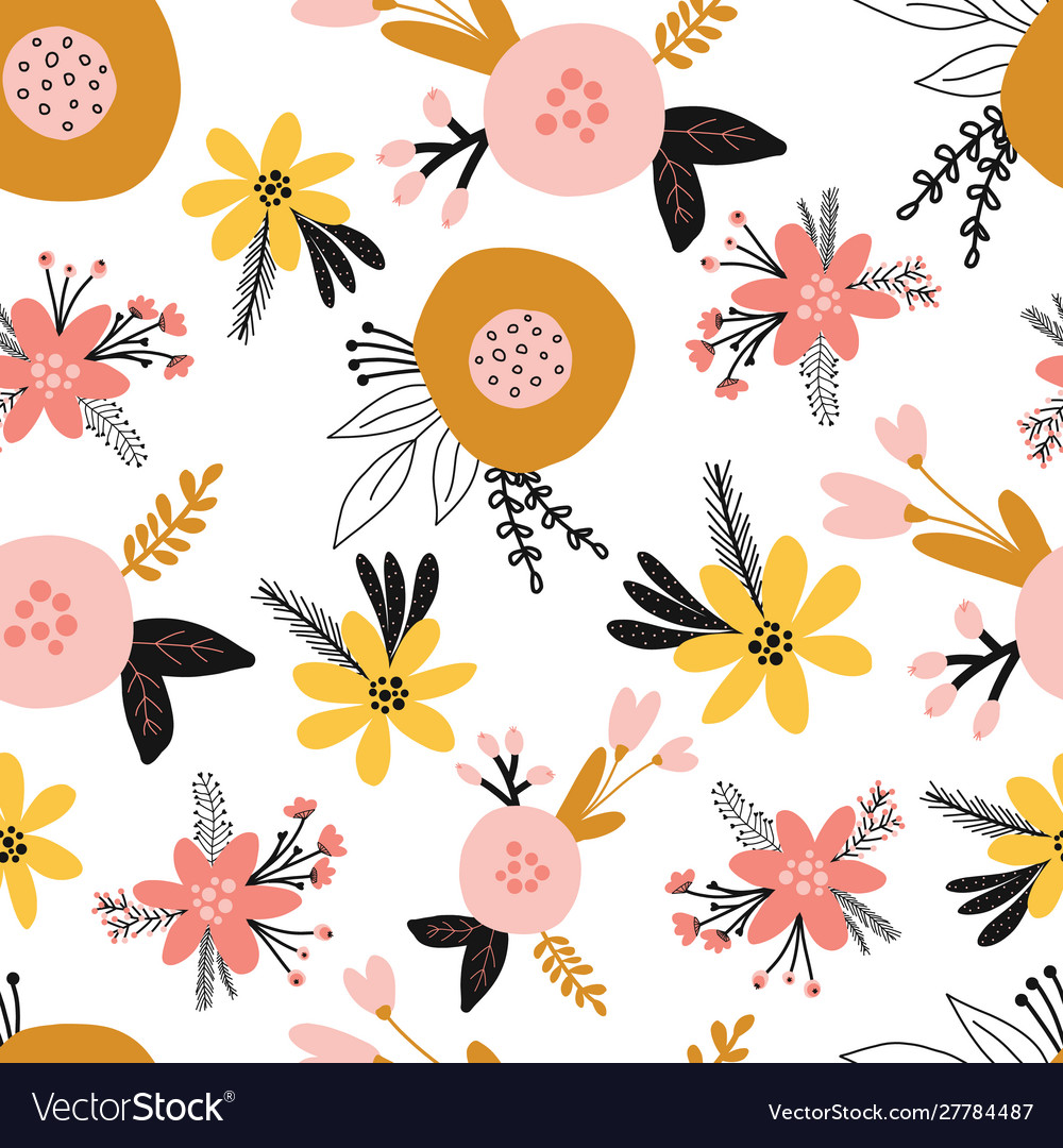 Seamless floral pattern with flat stylized