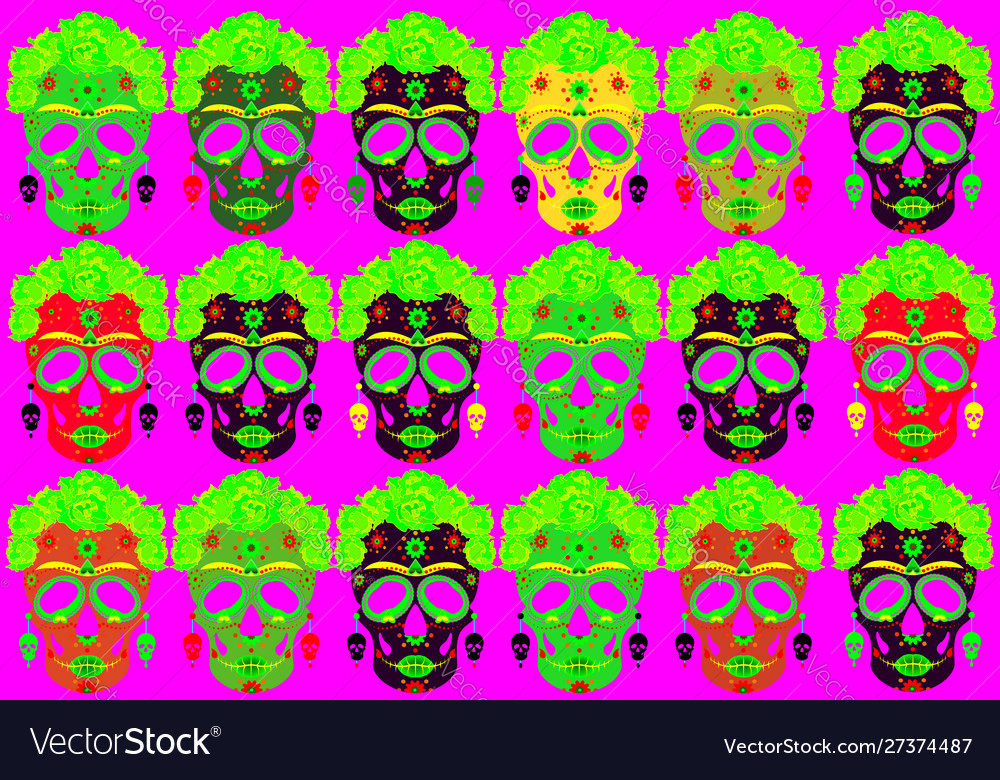 Set mexican skulls with flowers day dead