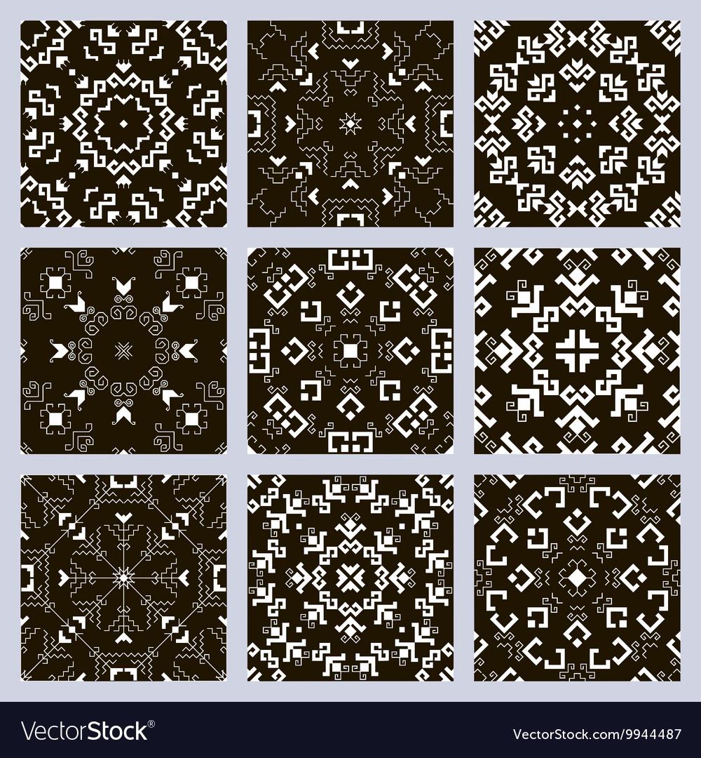 Set pattern black vector image