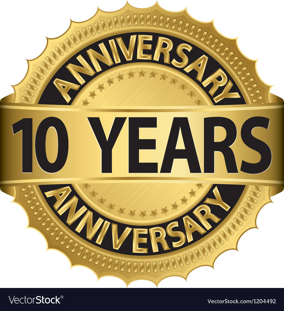 10 years anniversary golden label with ribbon