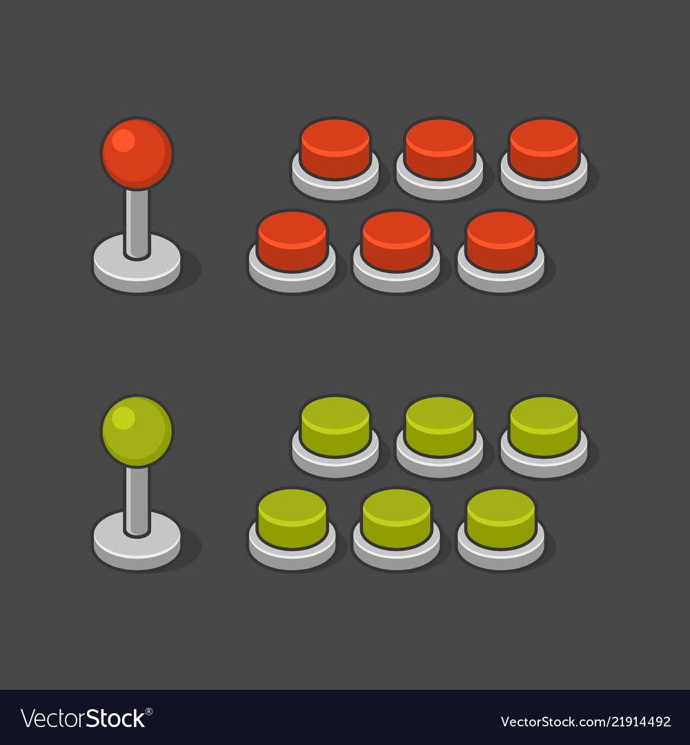 Arcade game machine buttons and joystick set
