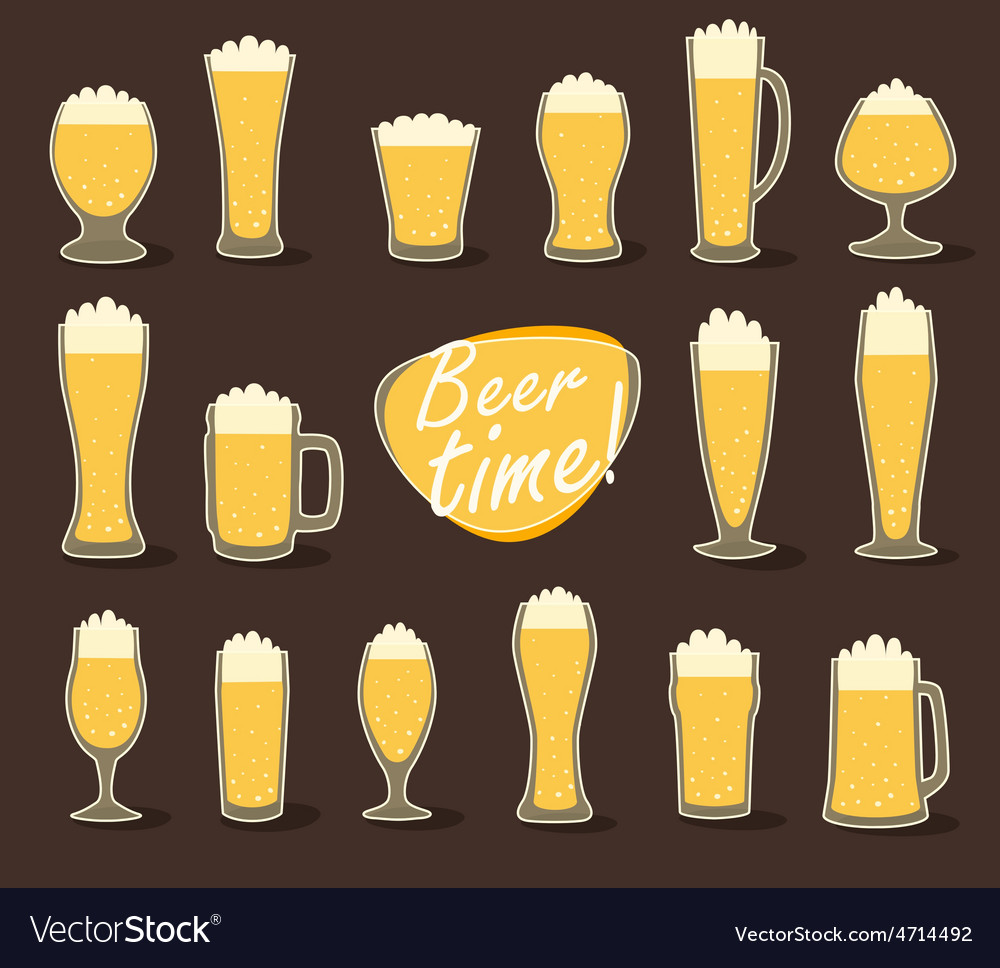 Beer in glass pint of beer flat icon set