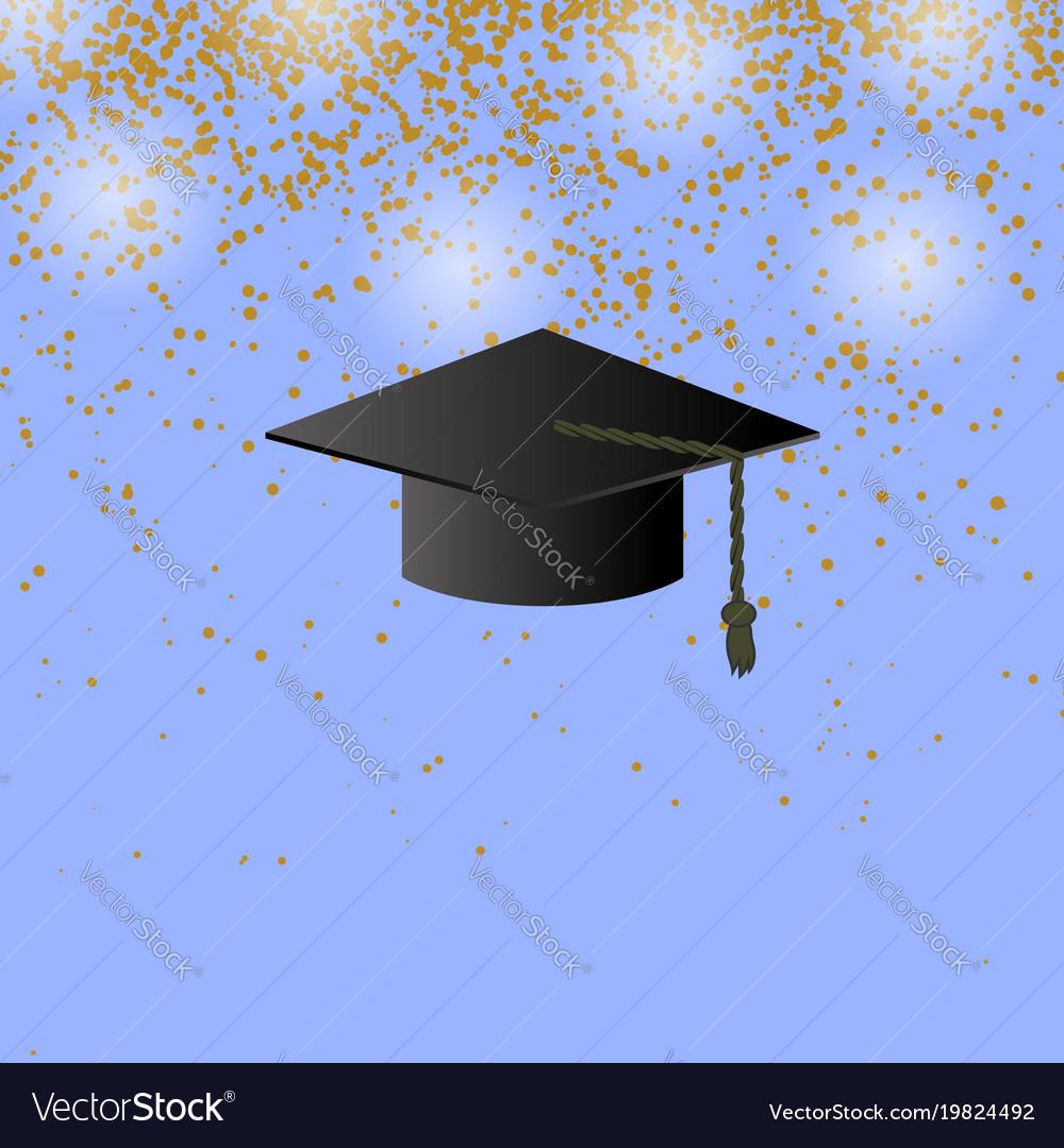 Black graduation cap on confetti background