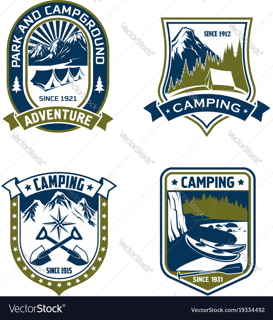 Camping badge shield of mountain or forest camp