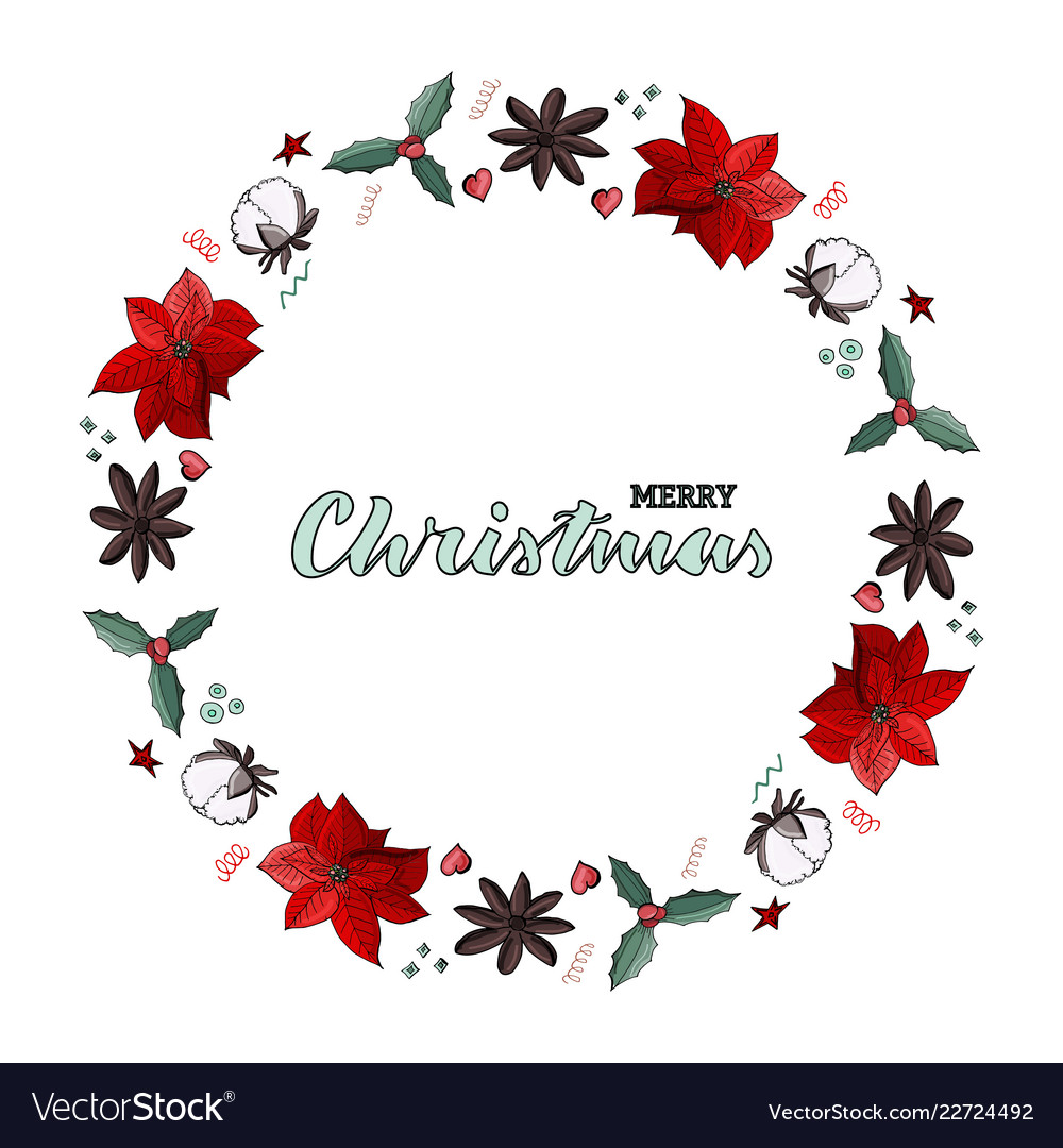 Christmas wreath with green lettering