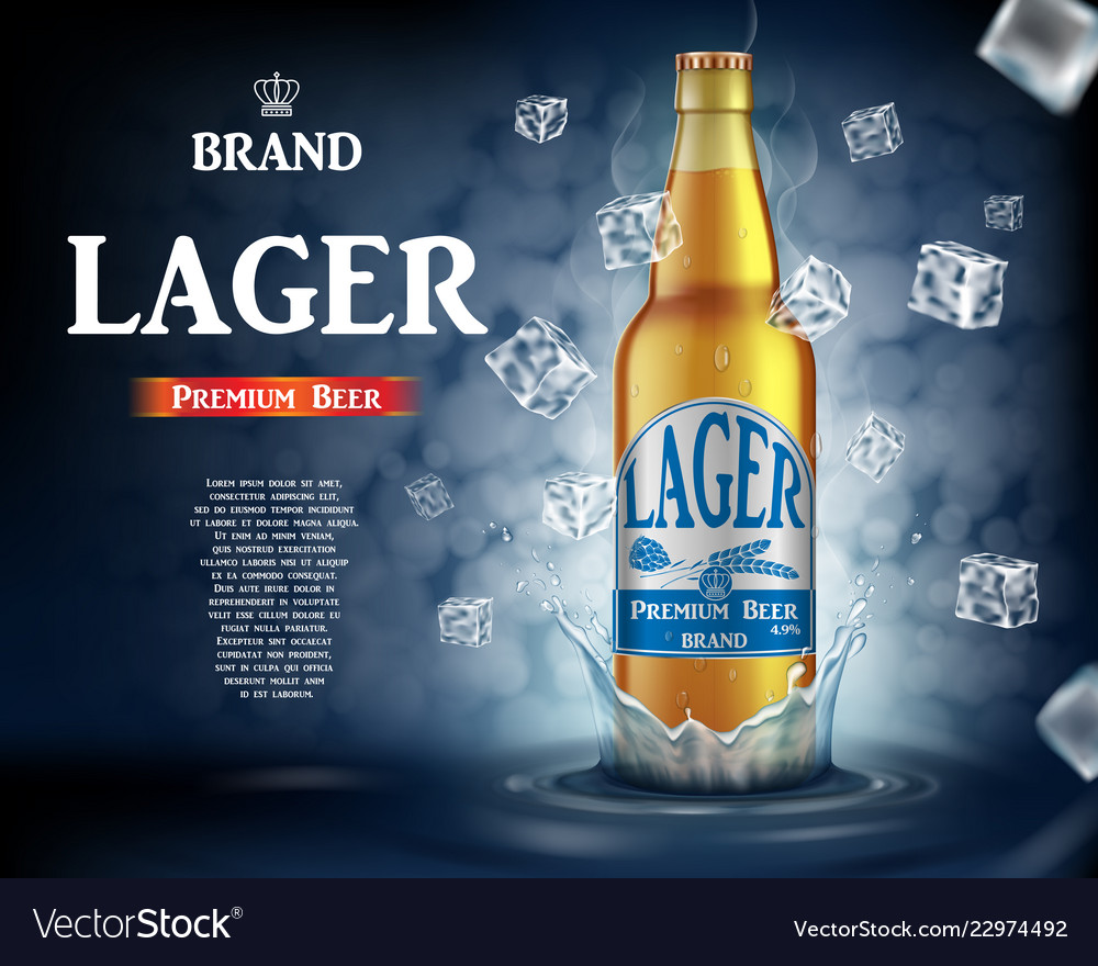 Craft lager beer ads with splashing realistic
