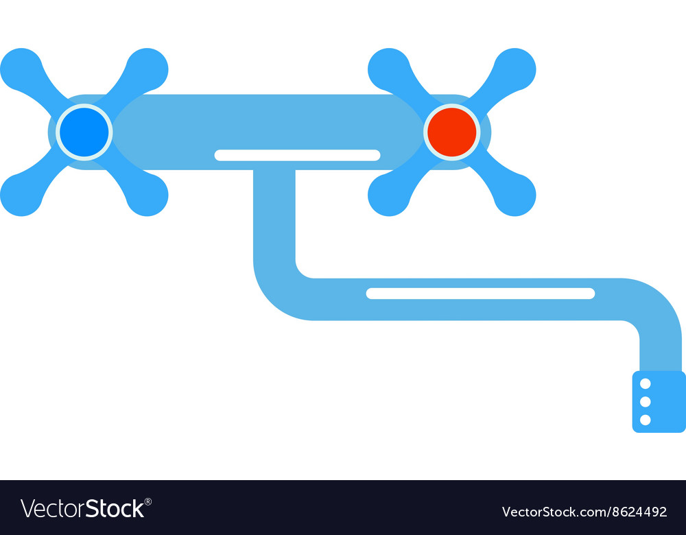 Dripping tap drop water faucet vector image