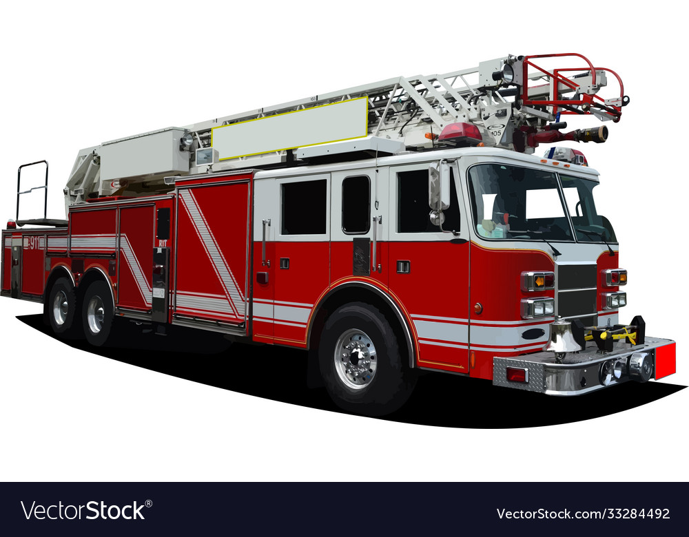 Fire engine ladder isolated on background 3d