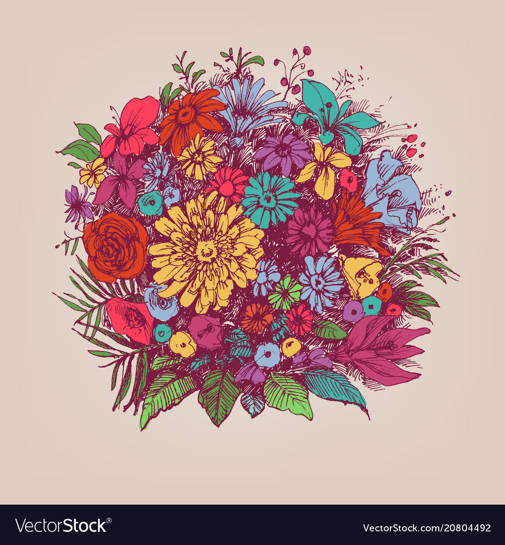Floral Bouquet Round Floral Arrangement Royalty Free Vector
