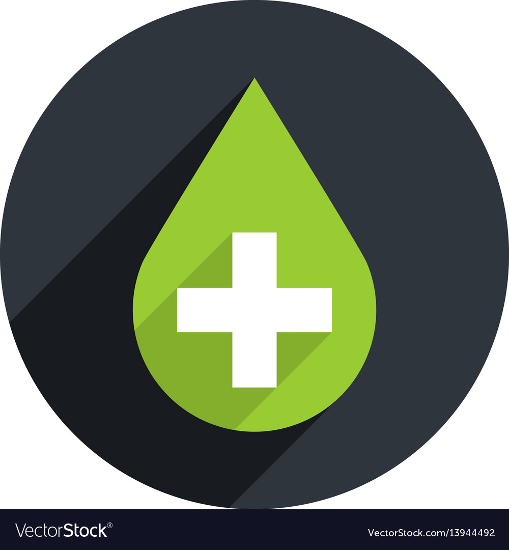 Green drop icon first aid sign
