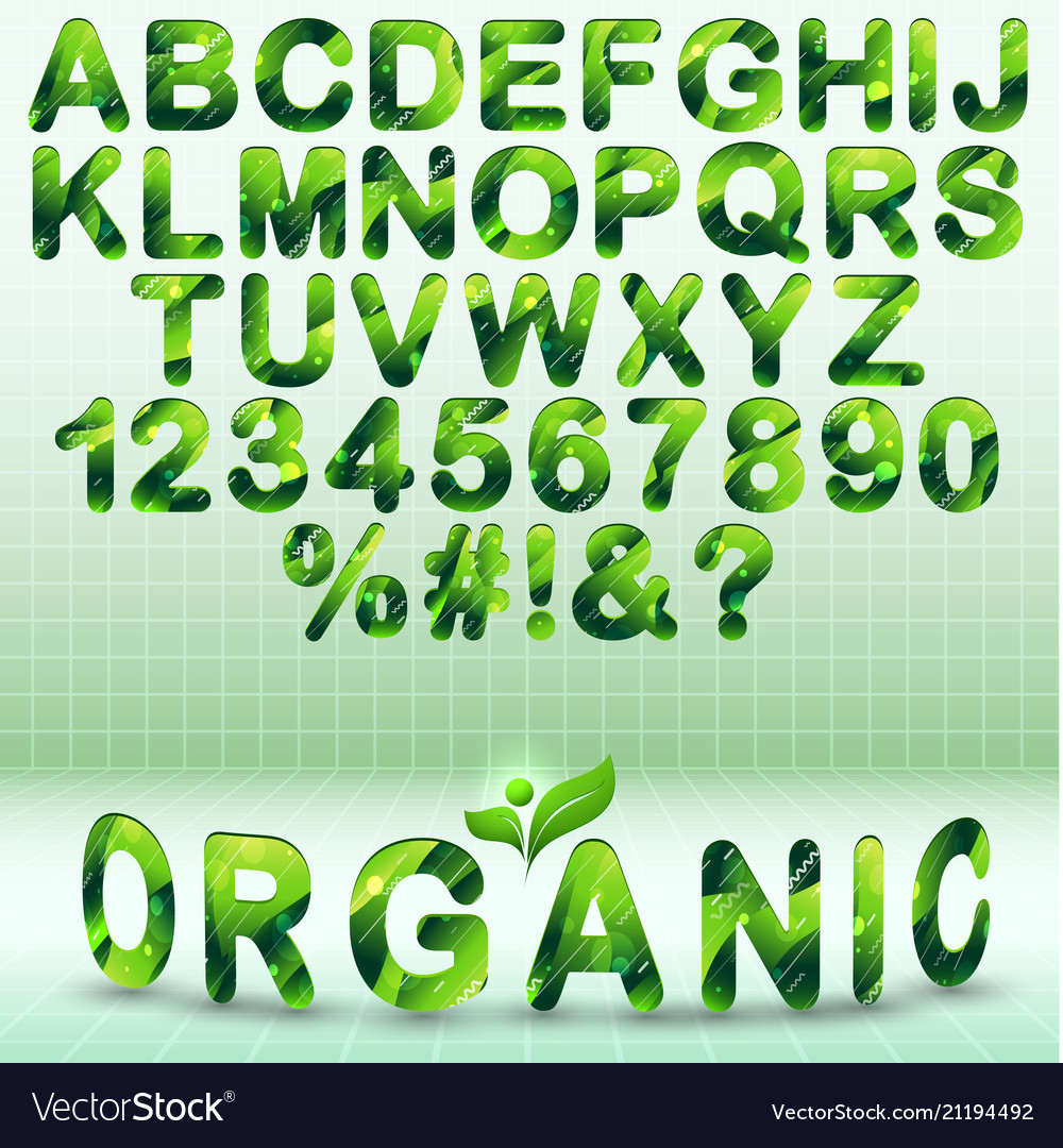 Green modern font with organic elements