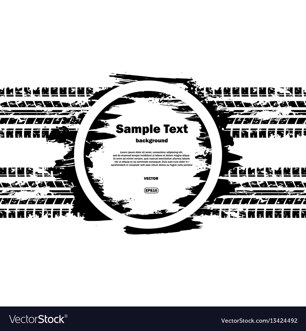 Grunge circle with text and tire track
