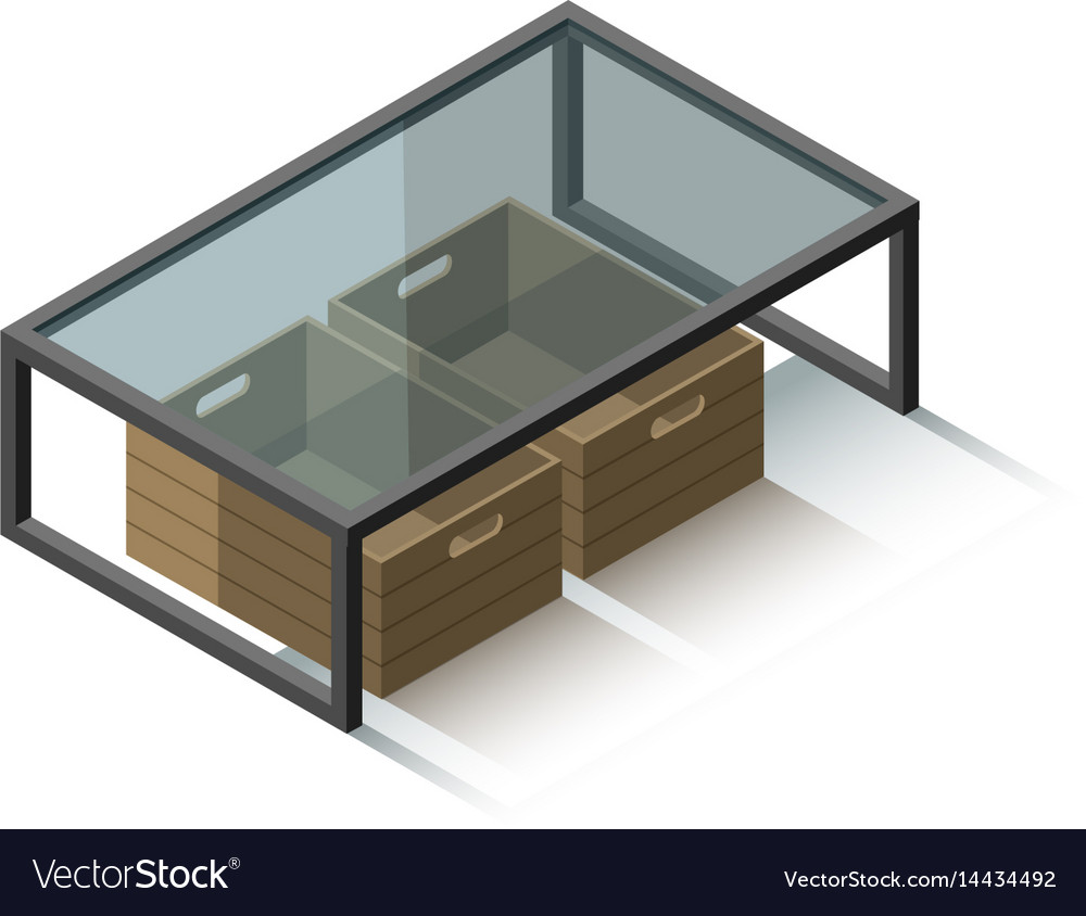 Isometric glass coffee table vector image