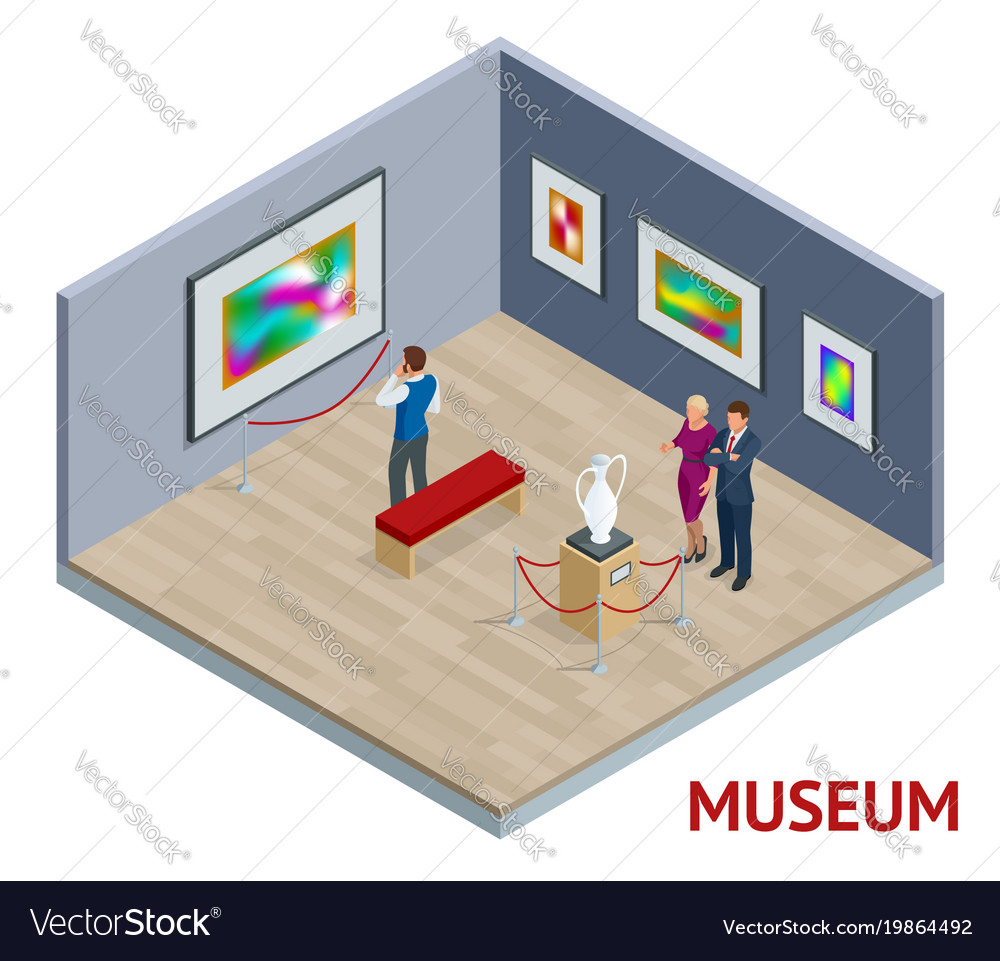 Isometric Museum Interior Or Art Gallery Concept Vector Image,Chase Credit Card Designs
