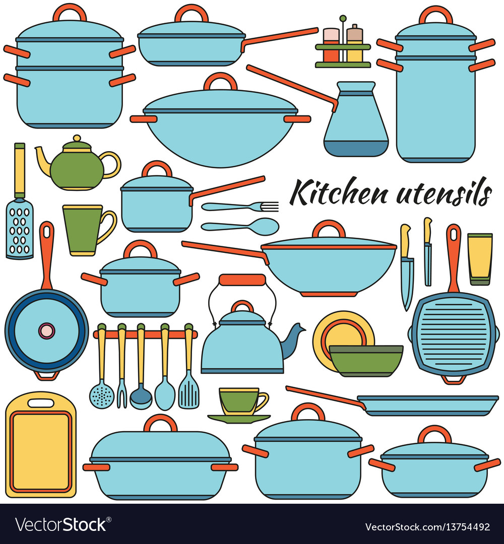Kitchen utensils colorful icons set