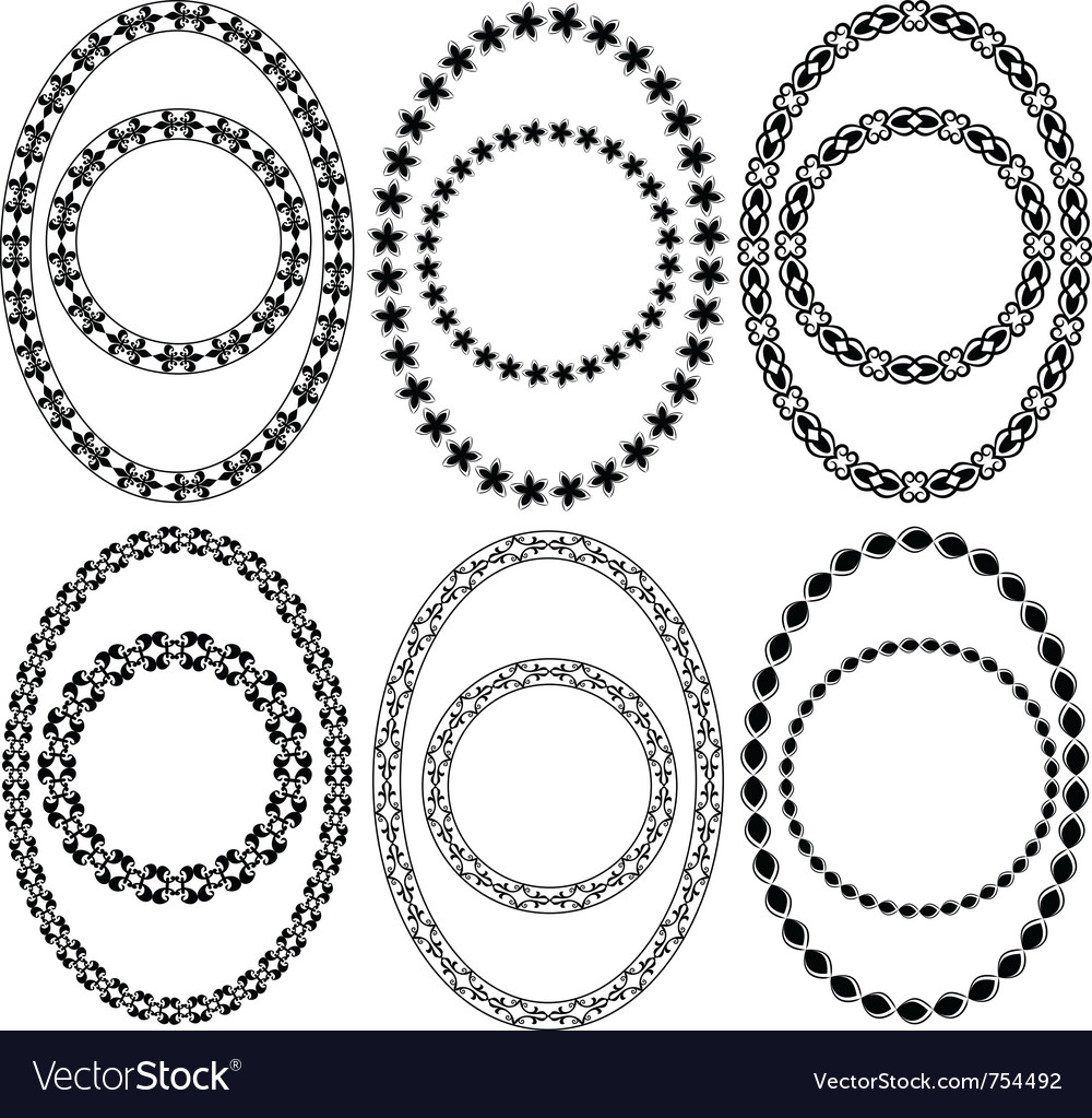 Oval and circle decorative frames vector image