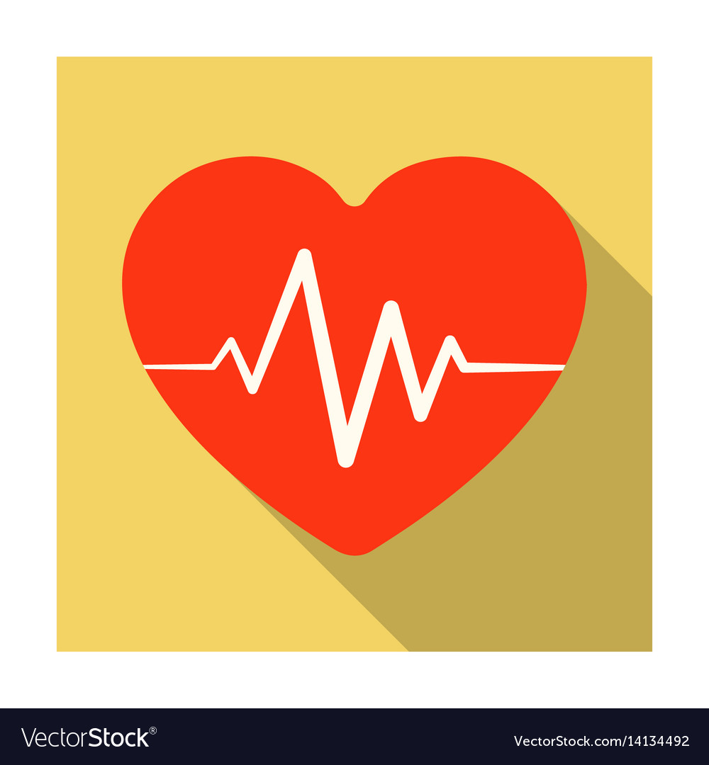 Red heart with pulsethe heart rate of the athlete vector image