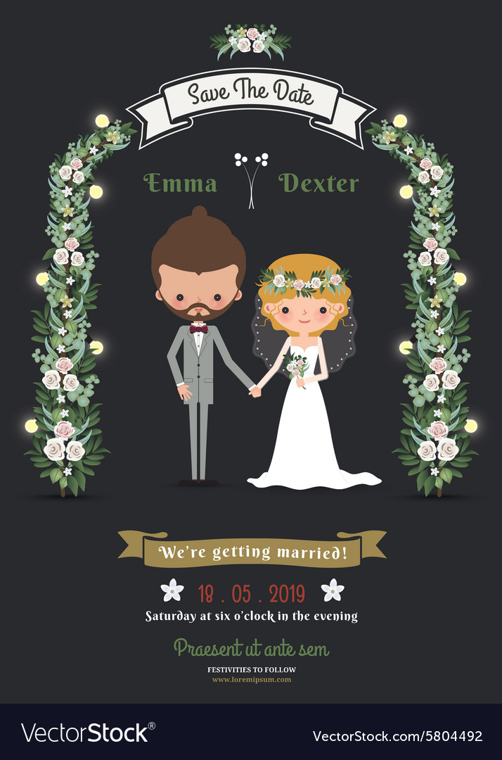 Rustic hipster romantic cartoon couple wedding vector image