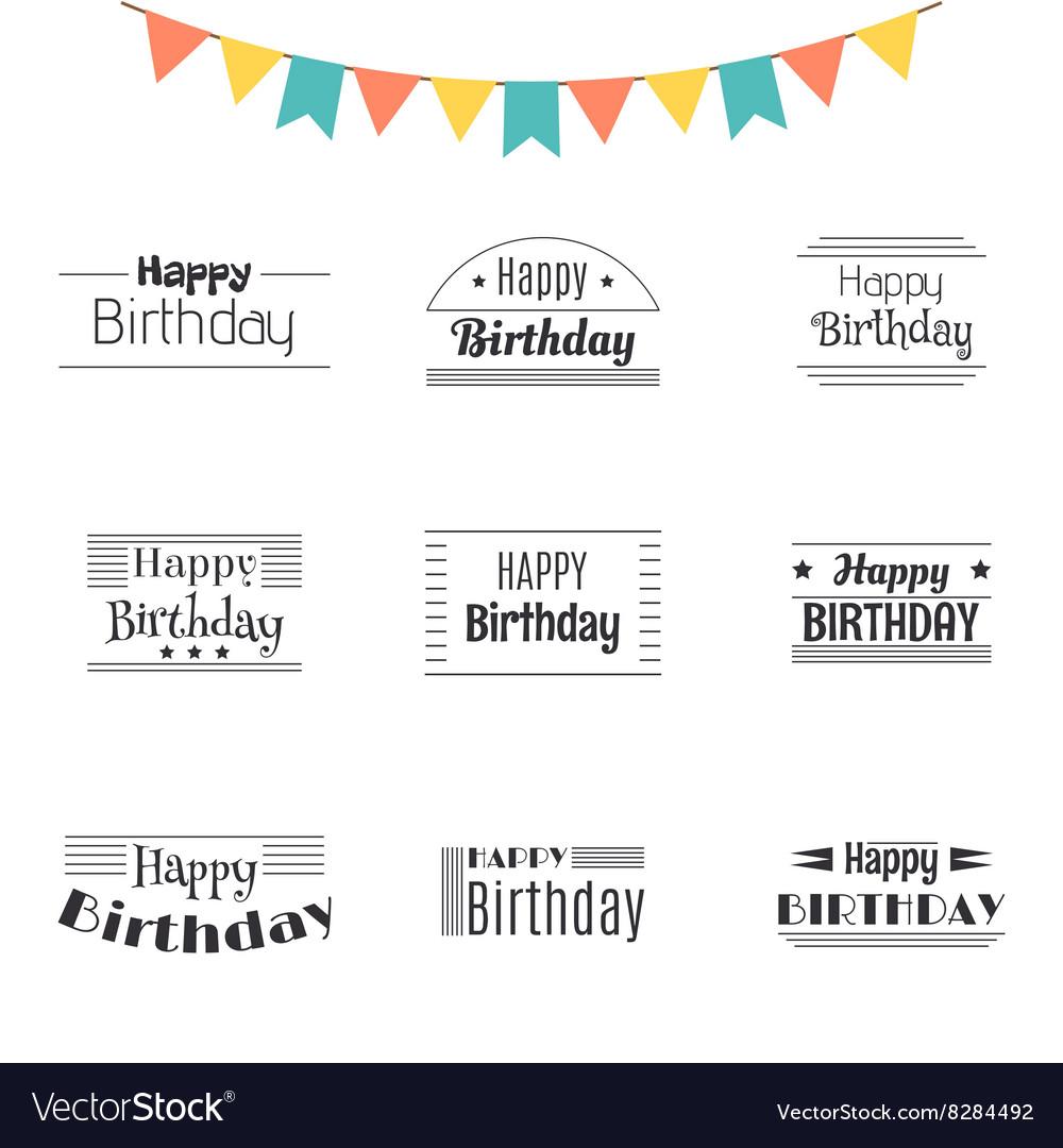 Set of Happy Birthday greeting cards Birthday