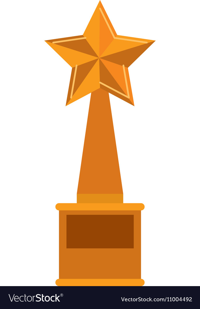 Trophy star Golden with plate vector image