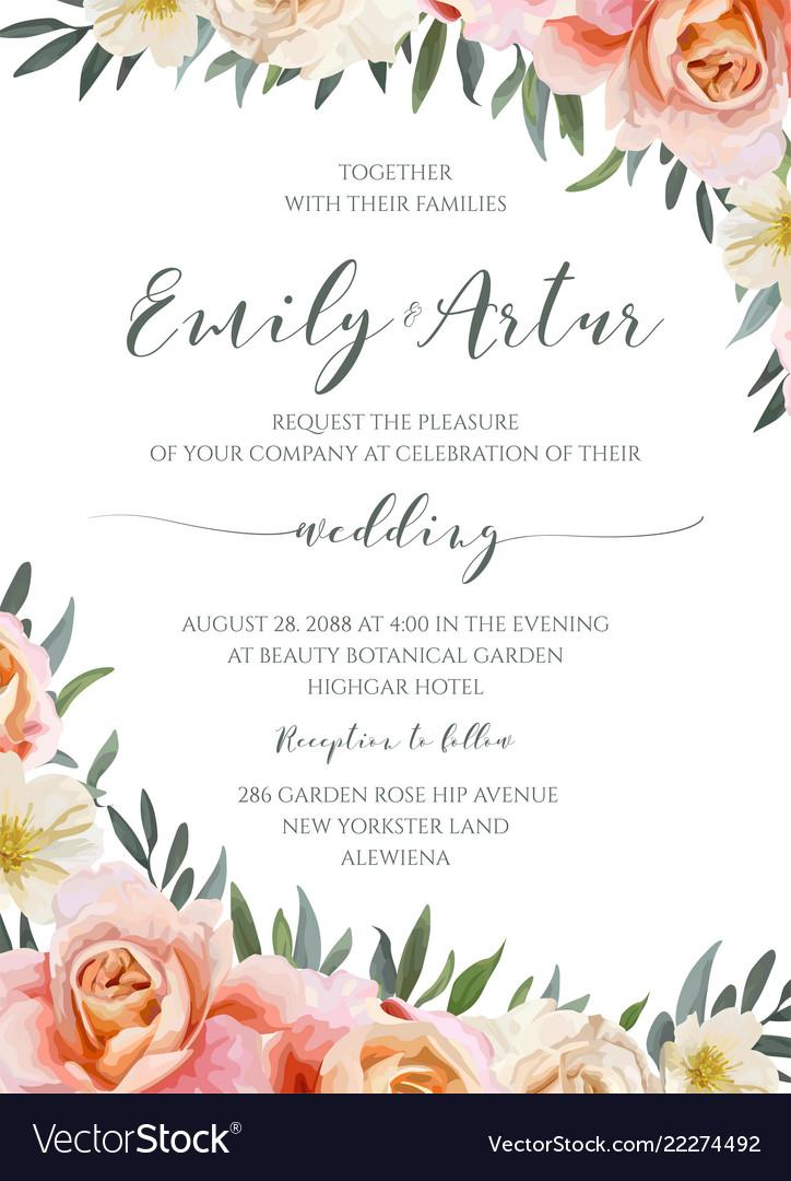 Wedding floral invite invitation cute card design