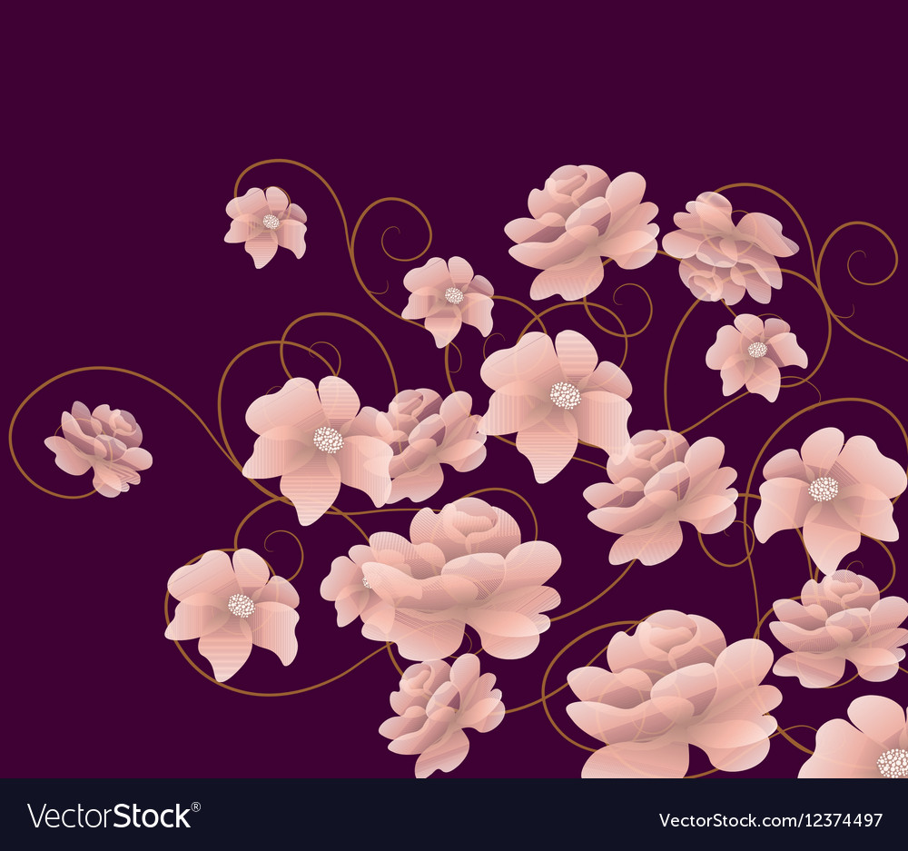 Abstract composition with flowers