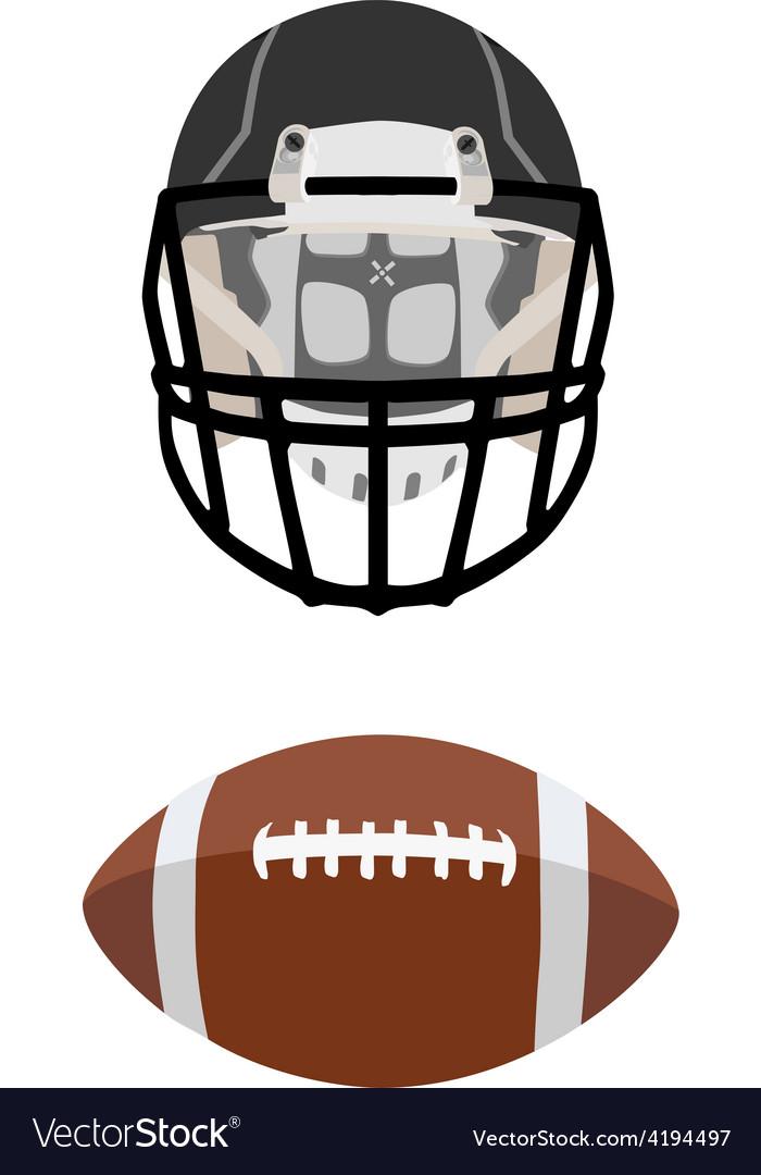 American football ball and helmet