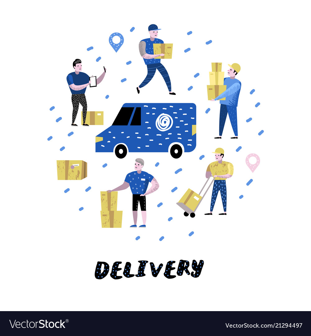 Delivery service cargo industry courier character