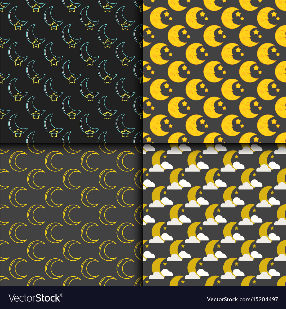 Different moon nature seamless pattern satellite vector image