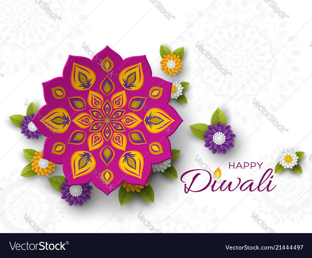 Diwali festival holiday design with paper cut
