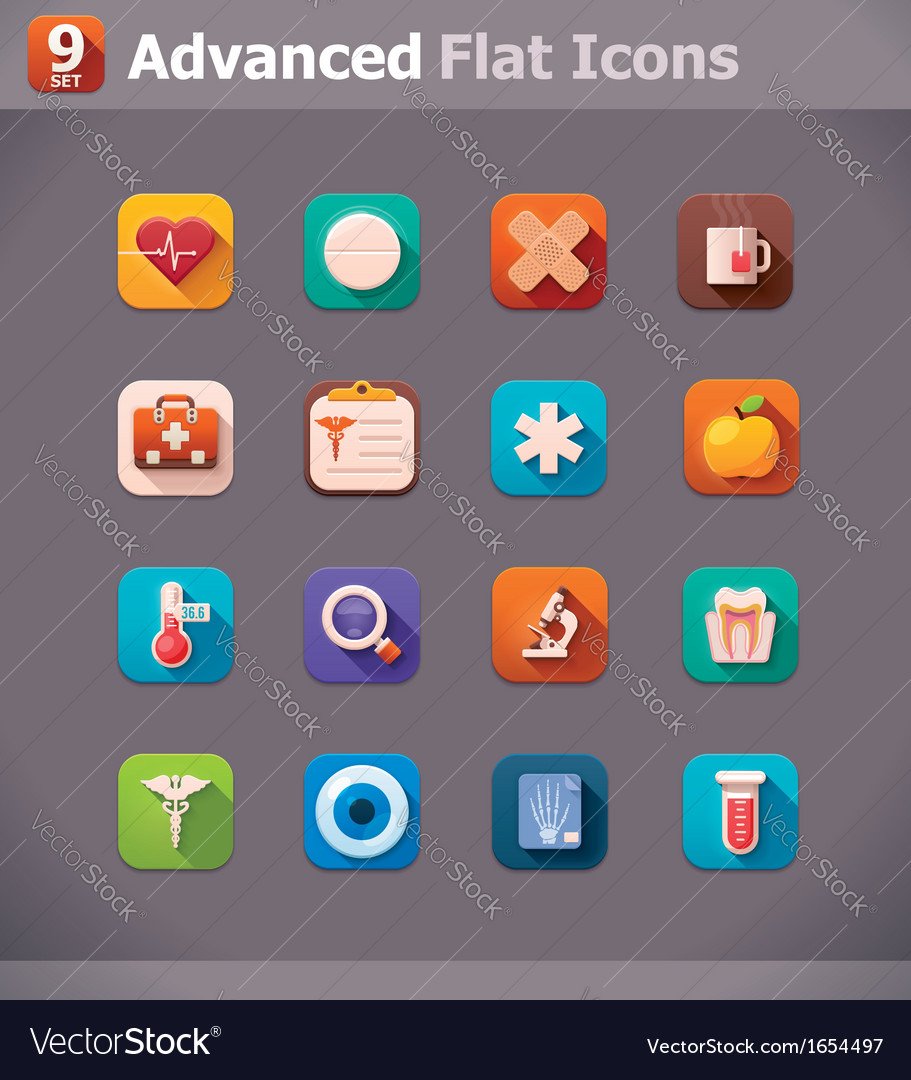 Flat medicine icons