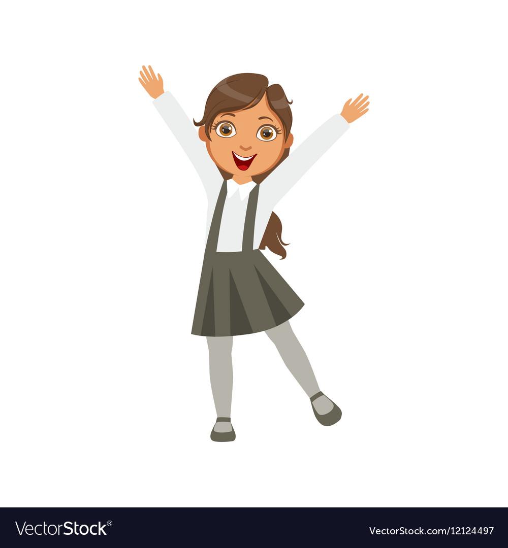 Girl In Black Skirt With Suspenders Happy