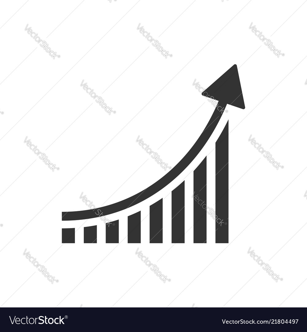 Growing bar graph icon in flat style increase