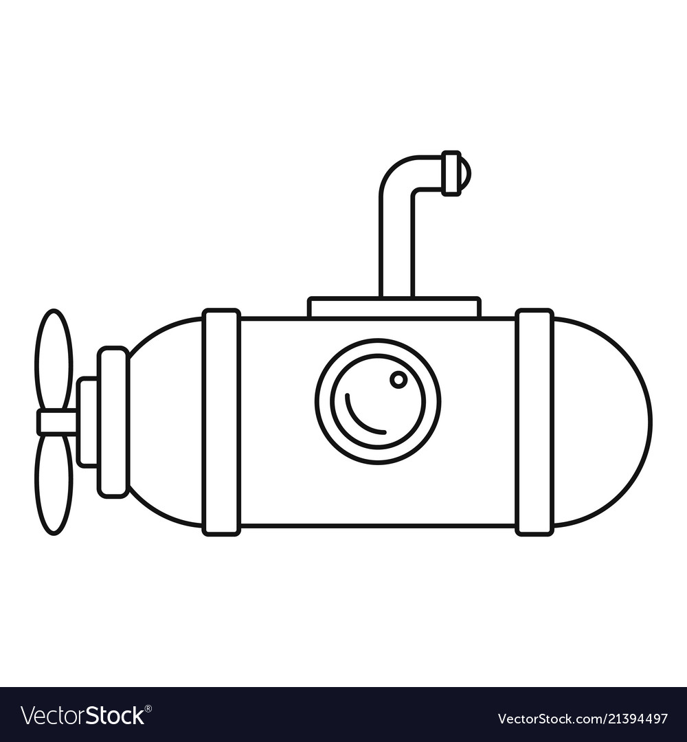 Small submarine icon outline style