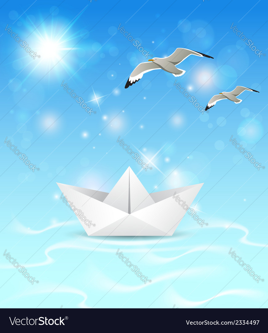 Summer blue marine background with paper boat