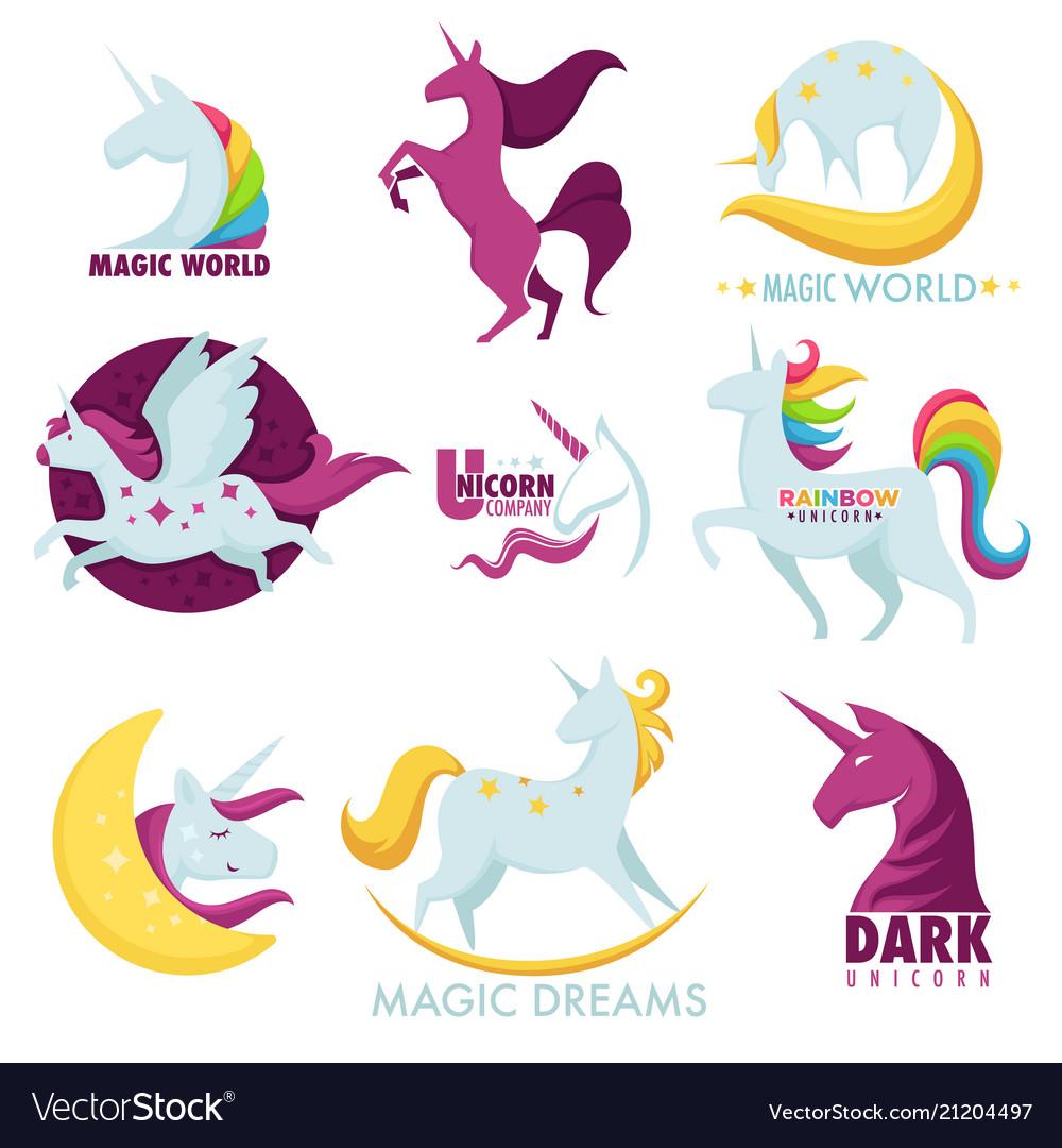Unicorn magic horse rainbow icons