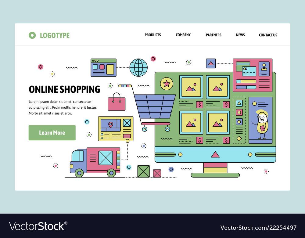 Web site linear art design template online