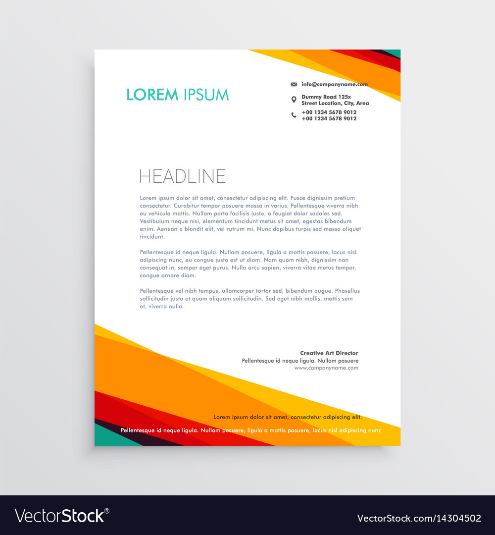 Abstract colorful letterhead design template for vector image